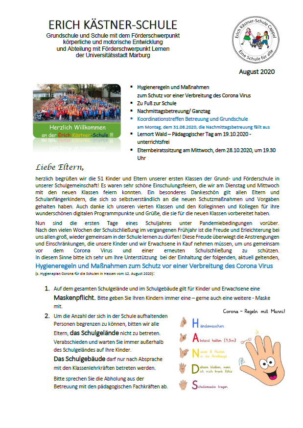 Elterninformation Grundschule EKS August